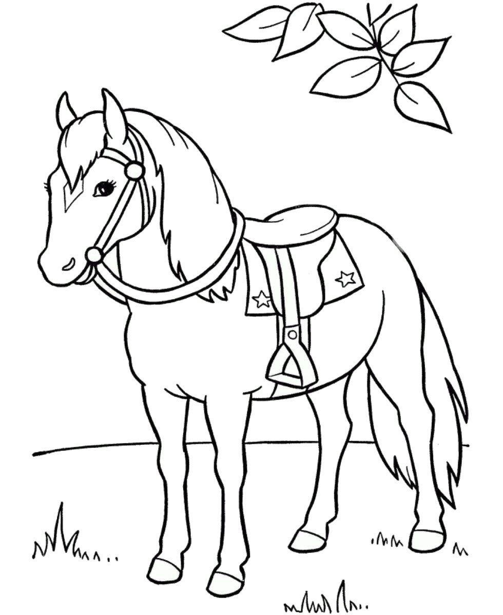 Tranh tô màu con ngựa cho bé