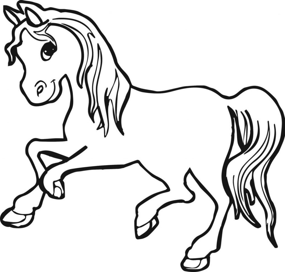 Tranh tô màu con ngựa dễ thương