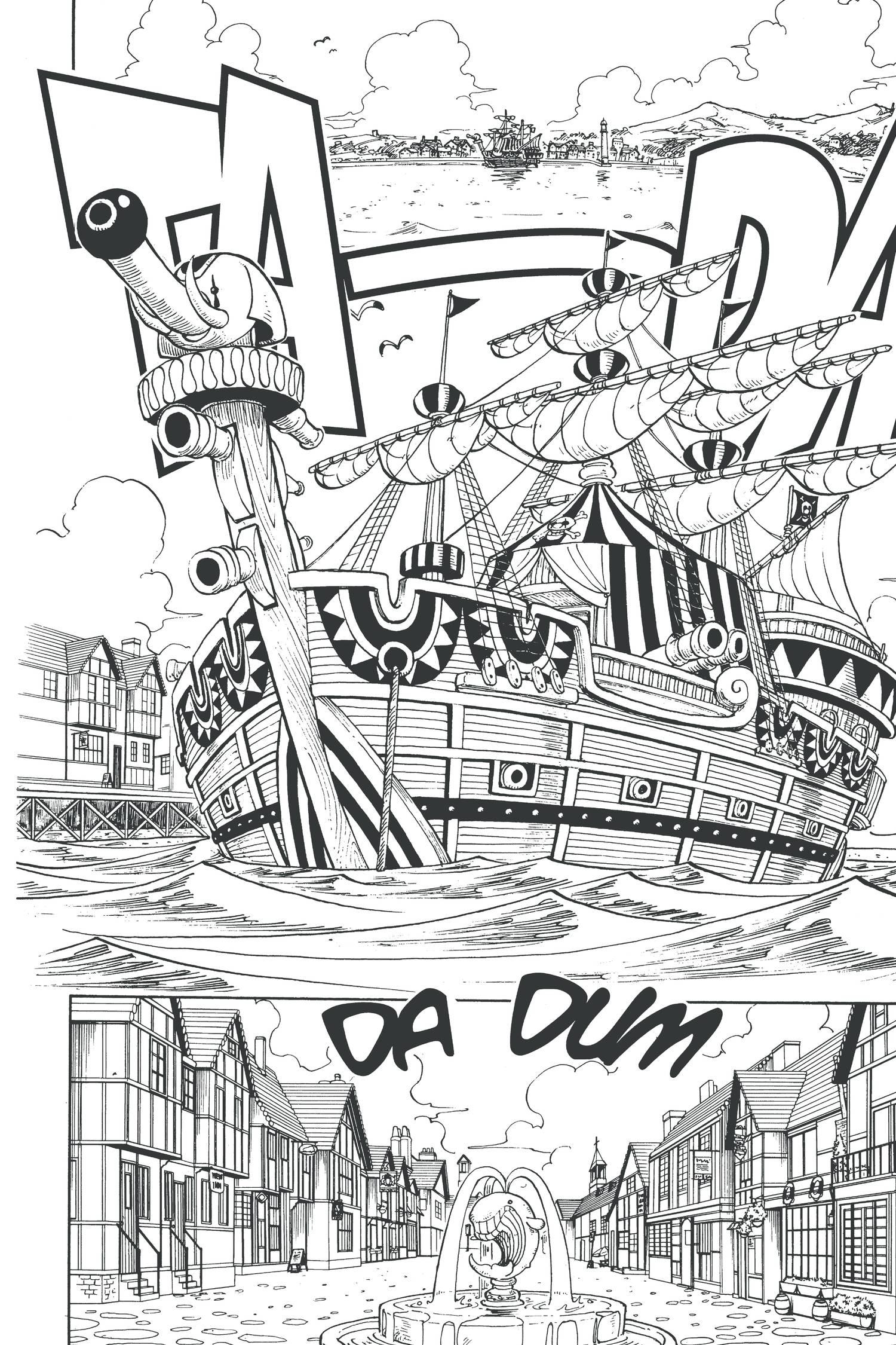 Tranh tô màu con thuyền trong One Piece