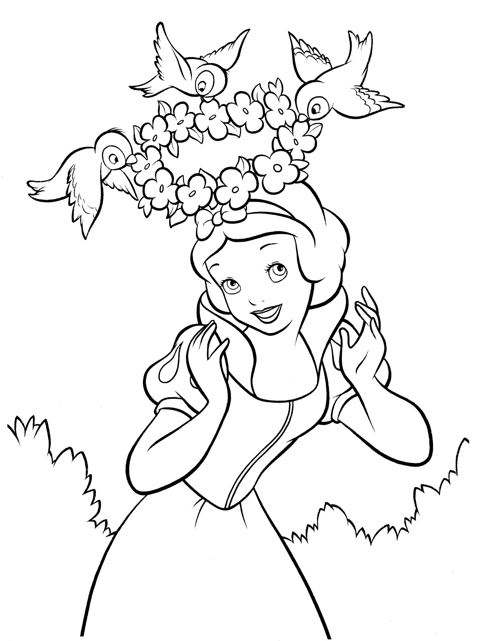 Tranh tô màu công chúa bạch tuyết dễ thương nhất