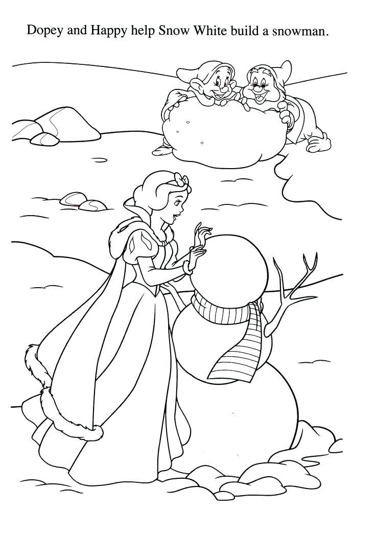 Tranh tô màu công chúa bạch tuyết lặn người tuyết cùng chú lùn