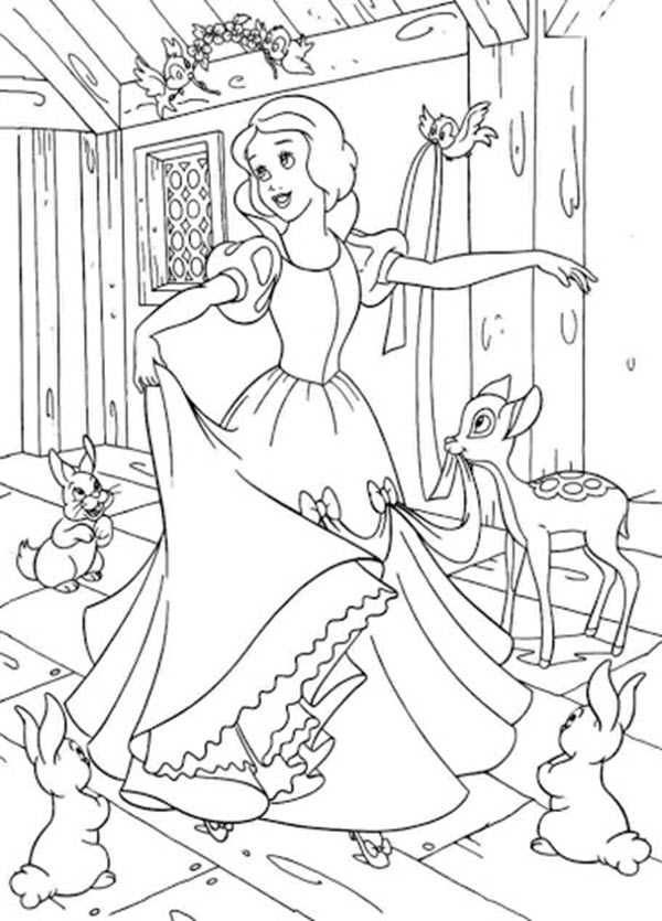 Tranh tô màu công chúa bạch tuyết mặc chiếc váy mới