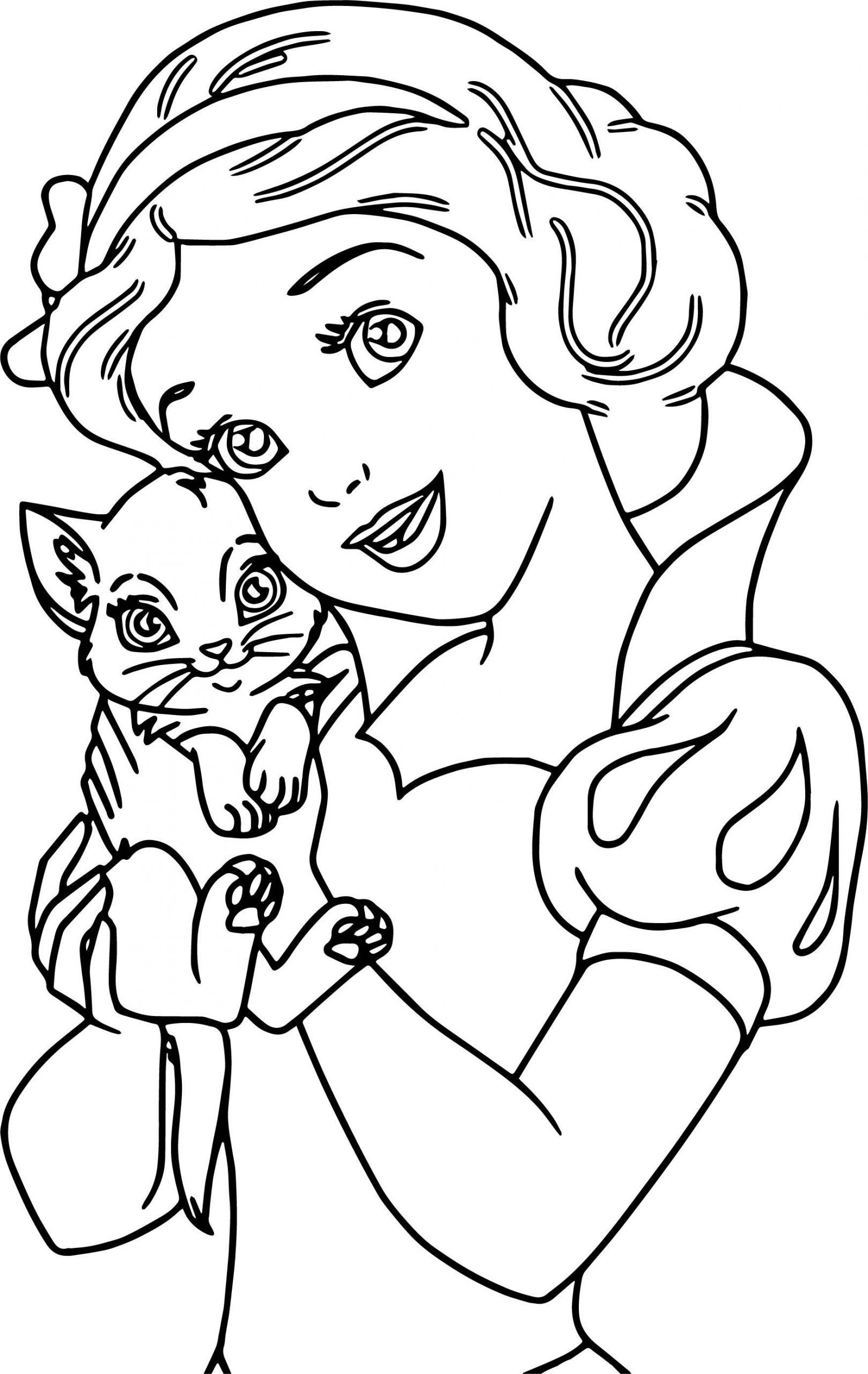 Tranh tô màu công chúa bạch tuyết và chú mèo nhỏ