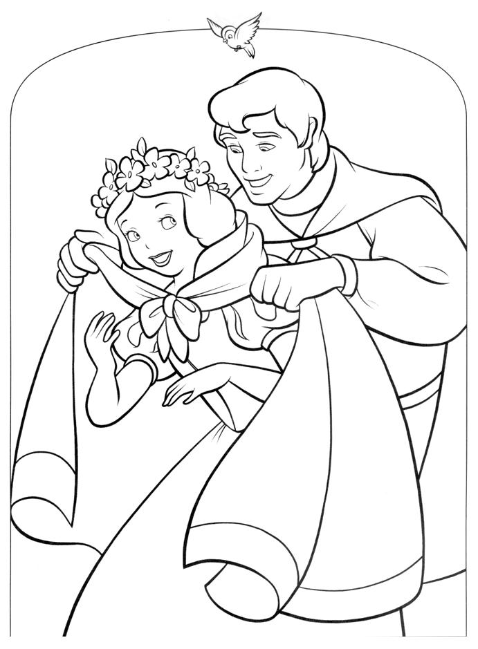 Tranh tô màu công chúa bạch tuyết và hoàng tử hạnh phúc