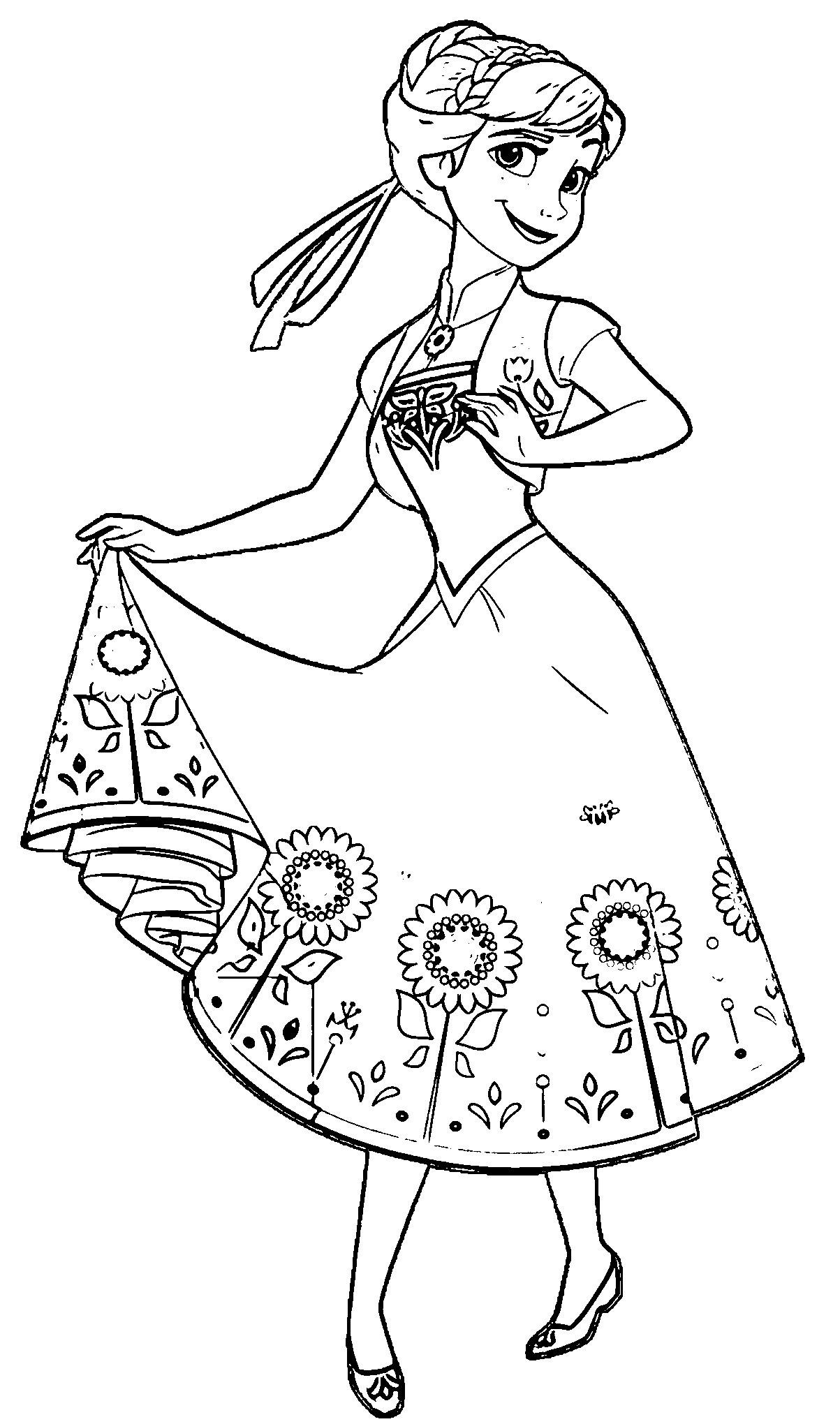 Tranh tô màu công chúa Elsa dễ thương cực đẹp