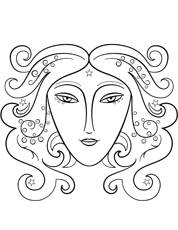 Tranh tô màu cung hoàng đạo Xử Nữ cho bé