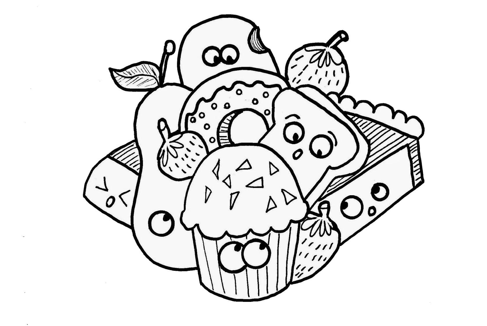 Tranh tô màu đồ ăn dễ thương cho bé