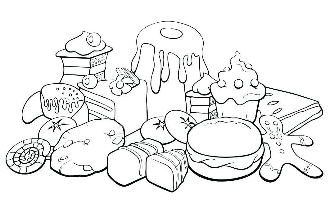 Tranh tô màu đồ ăn đơn giản cho bé