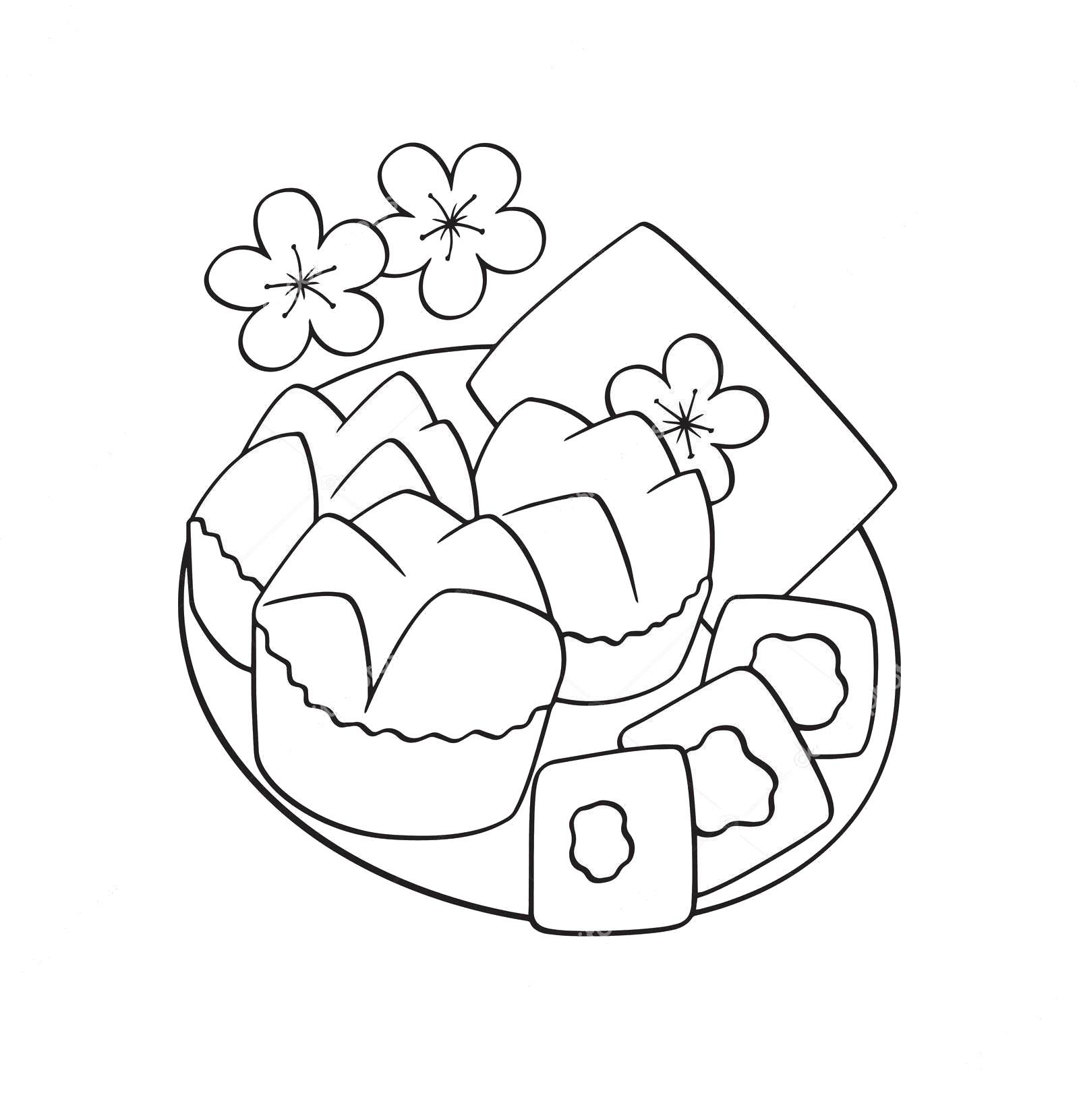 Tranh tô màu đồ ăn ngày tết đẹp