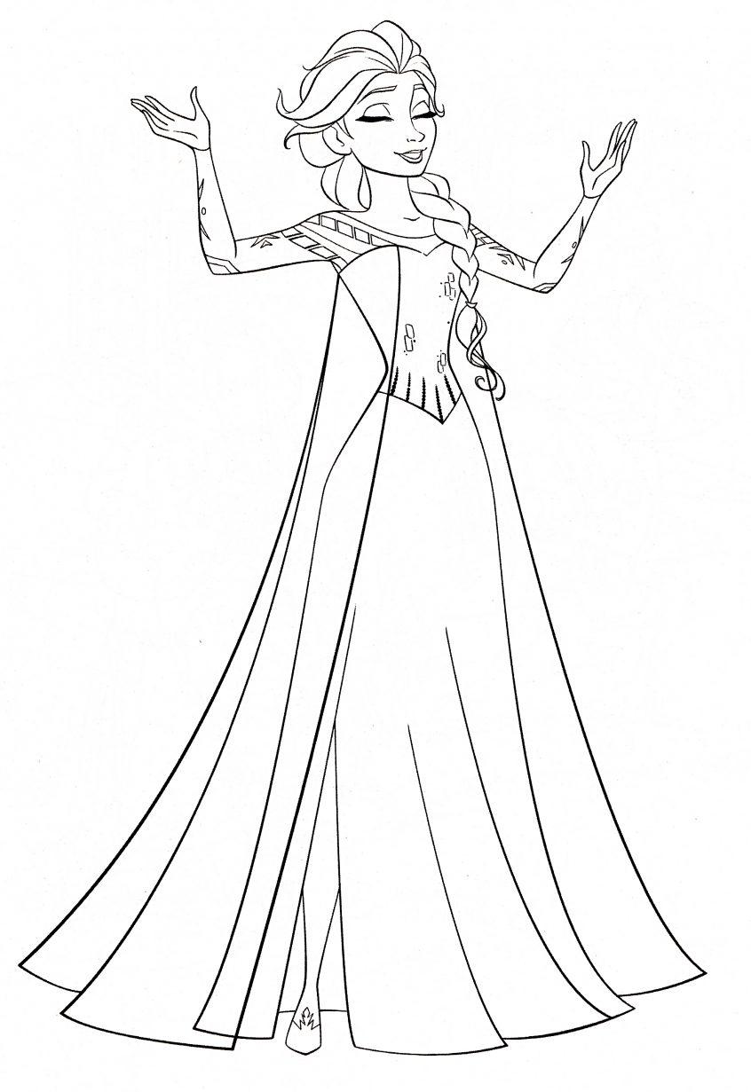 Tranh tô màu Elsa đơn giản