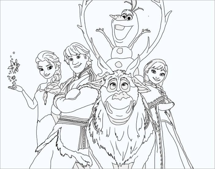 Tranh tô màu Elsa và những người bạn