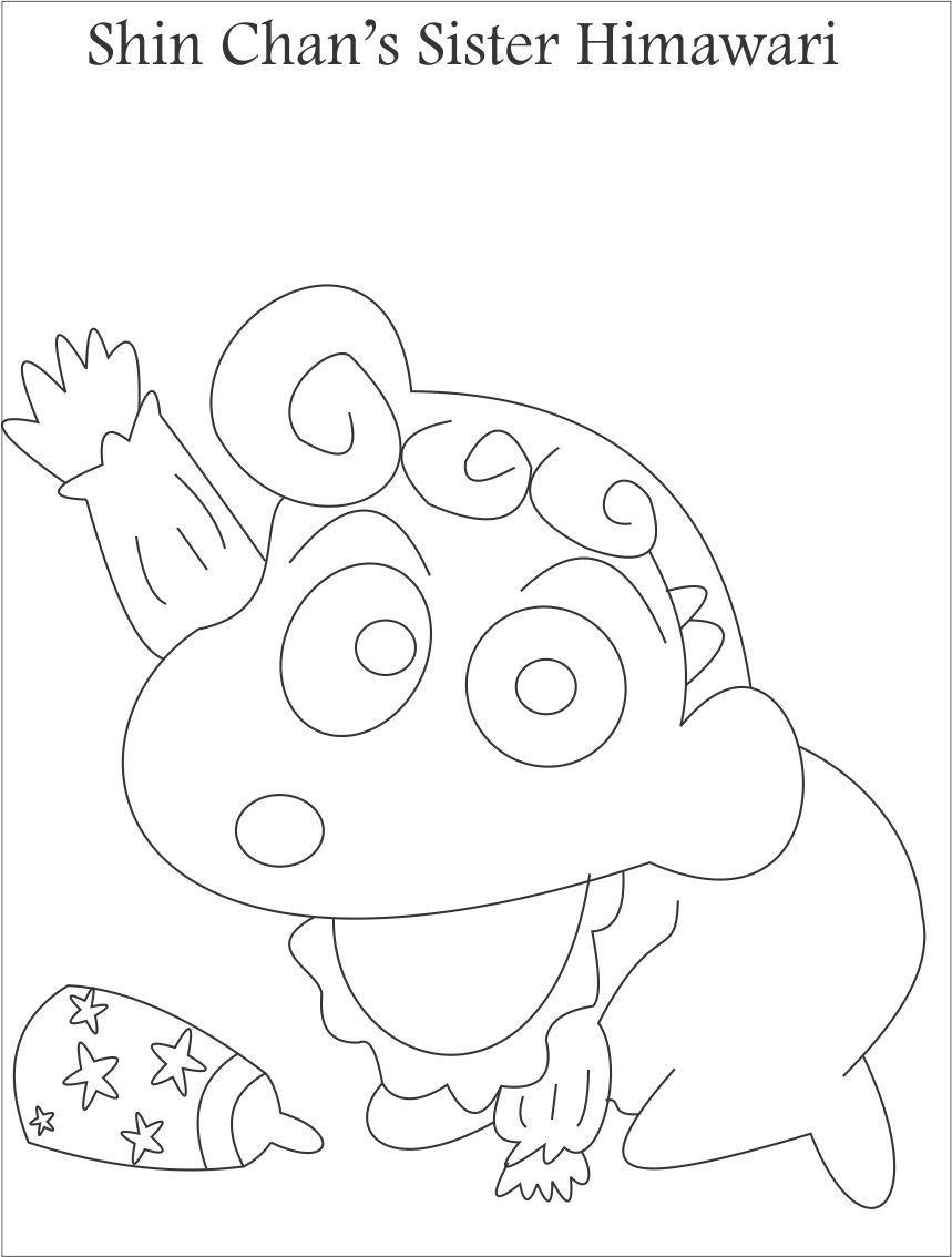 Tranh tô màu em gái của cậu Shin bút chì