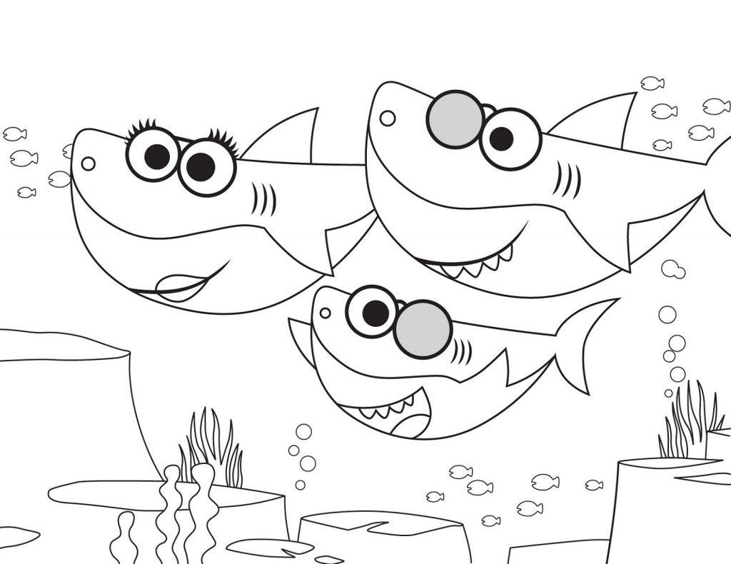 Tranh tô màu gia đình cá mập