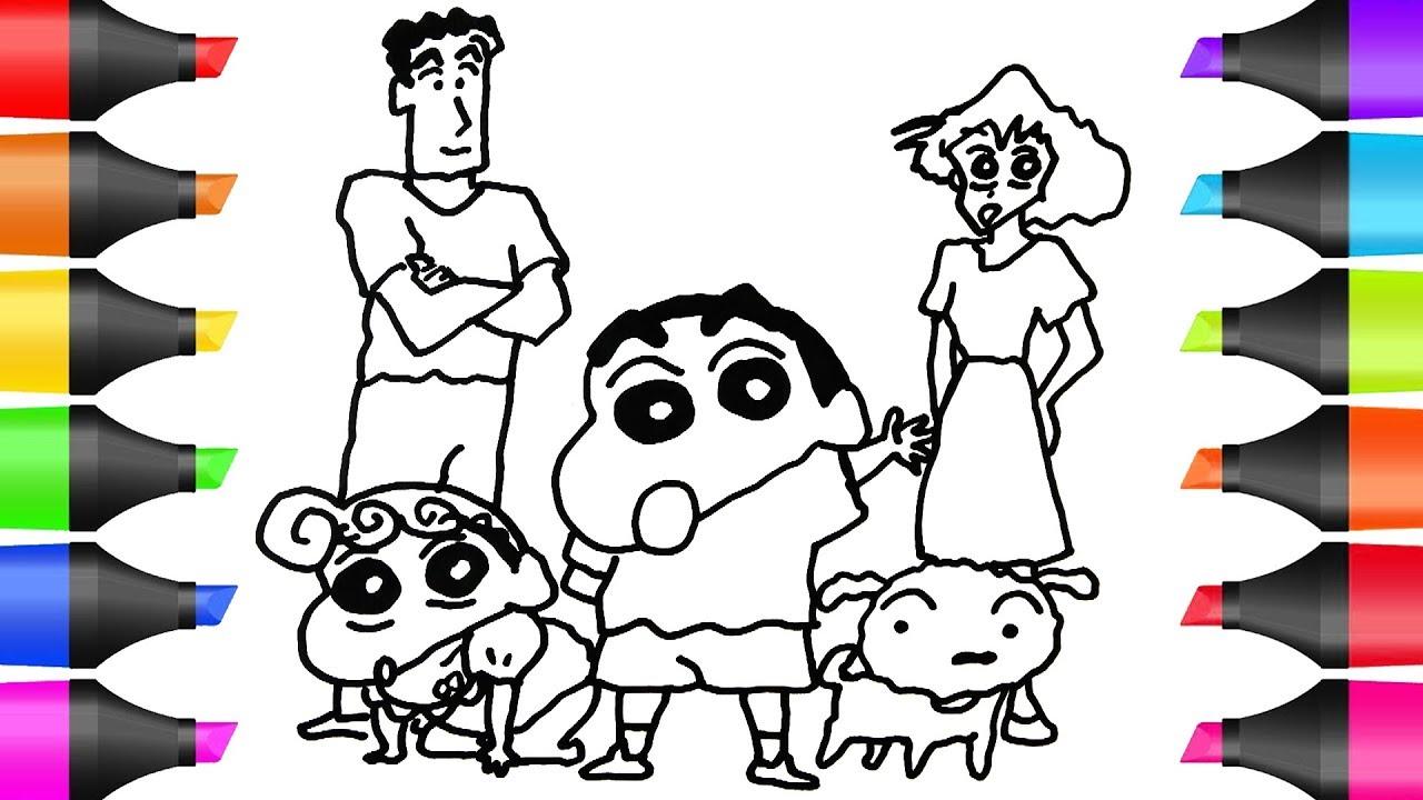 Tranh tô màu gia đình cậu bé bút chì Shin