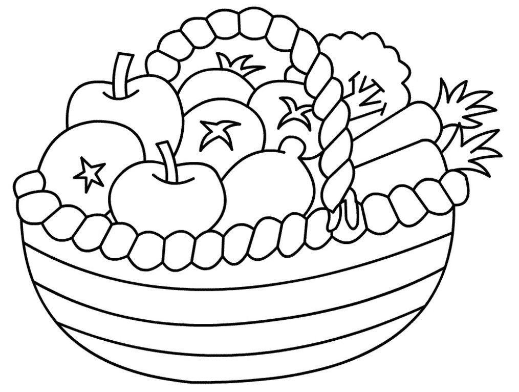 Tranh tô màu giỏ hoa quả đẹp nhất