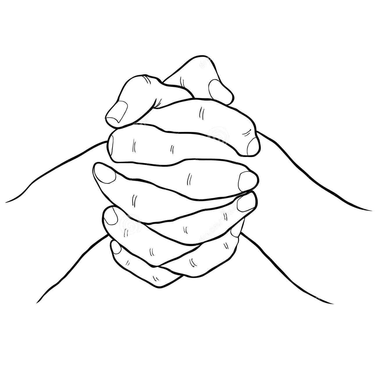 Tranh tô màu hai bàn tay nắm chặt