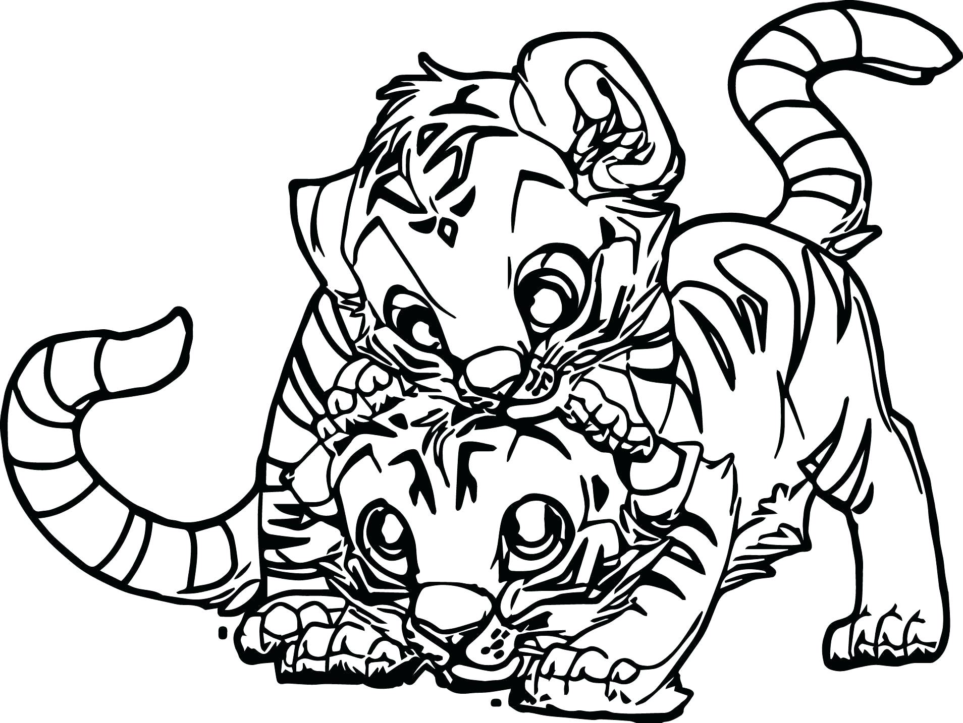 Tranh tô màu hai chú hổ con vui đùa với nhau
