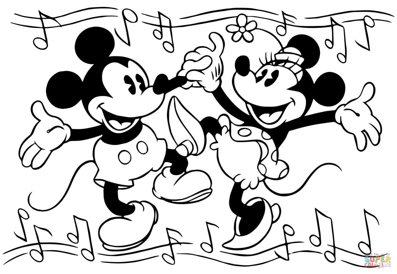 Tranh tô màu hai chuột Mickey nhảy múa