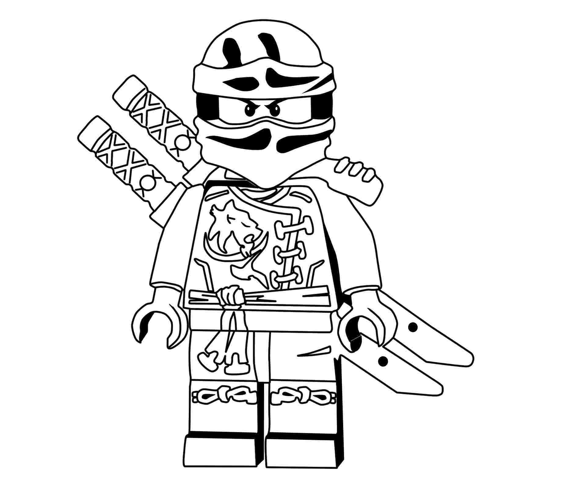 Tranh tô màu hai kiếm đeo sau lưng của ninjago