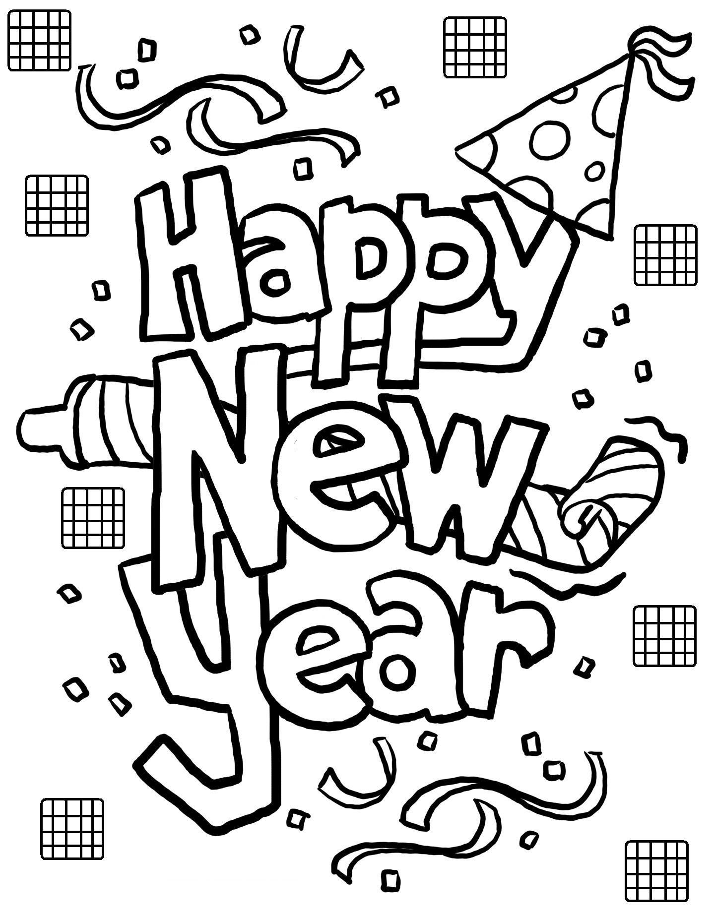 Tranh tô màu Happy New Year đơn giản