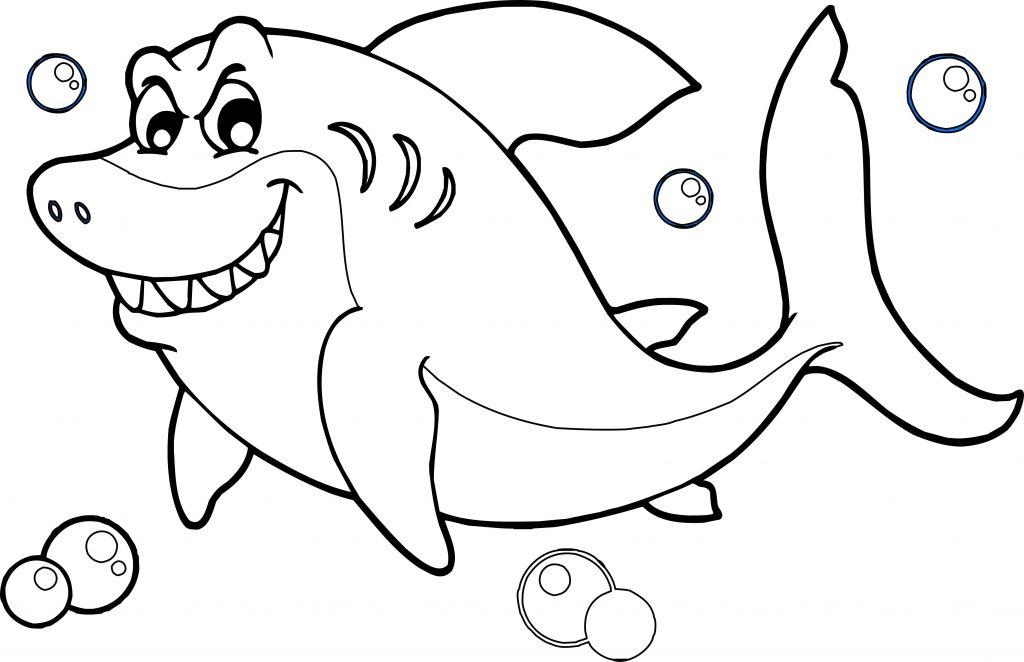 Tranh tô màu hình cá mập đơn giản