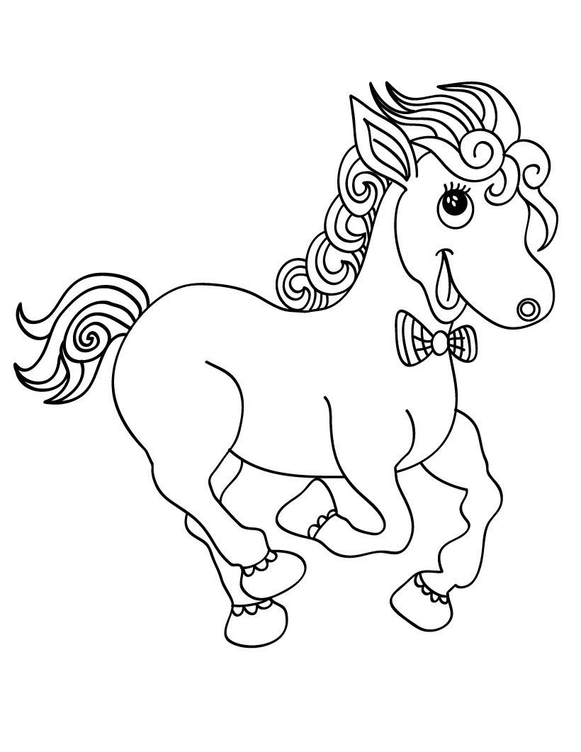 Tranh tô màu hình ngựa dễ thương cho bé