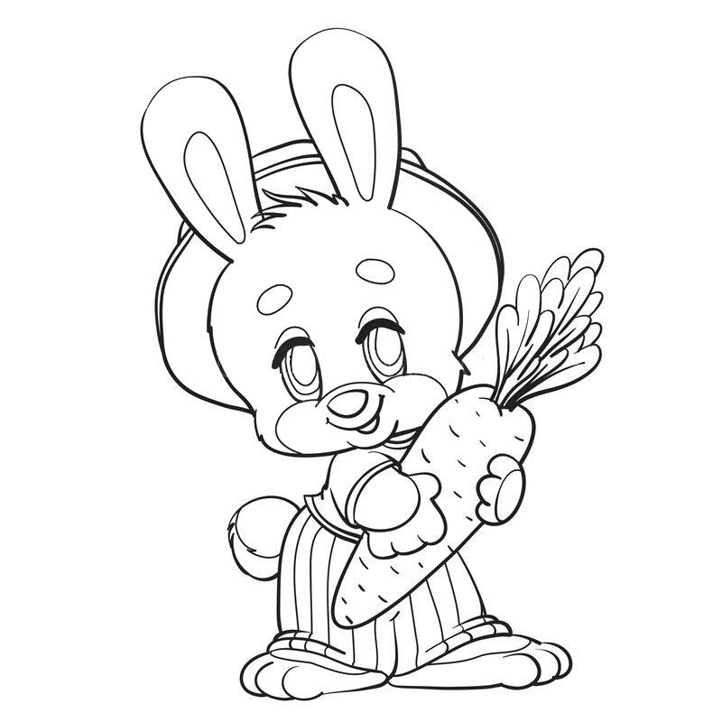 Tranh tô màu hình thỏ cầm củ cà rốt