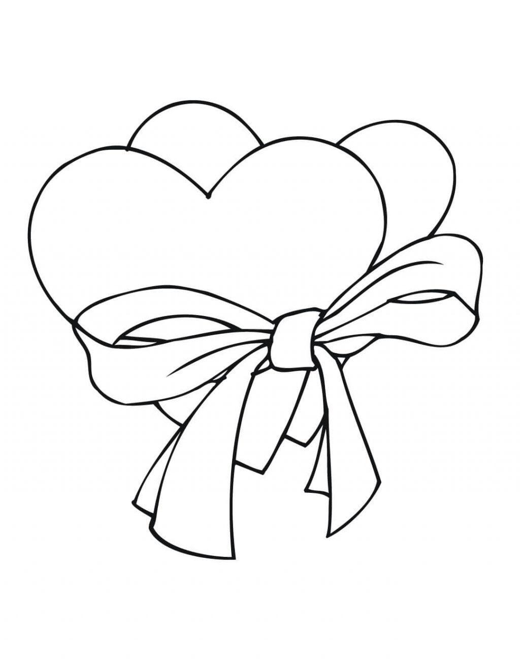 Tranh tô màu hình trái tim buộc nơ