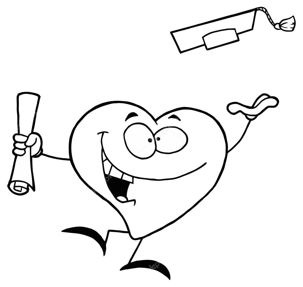 Tranh tô màu hình trái tim cartoon