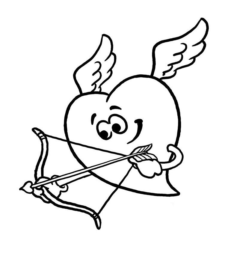 Tranh tô màu hình trái tim có cánh đơn giản