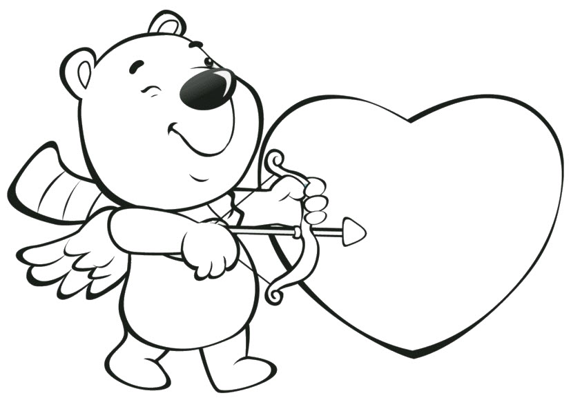 Tranh tô màu hình trái tim và thần Cupid