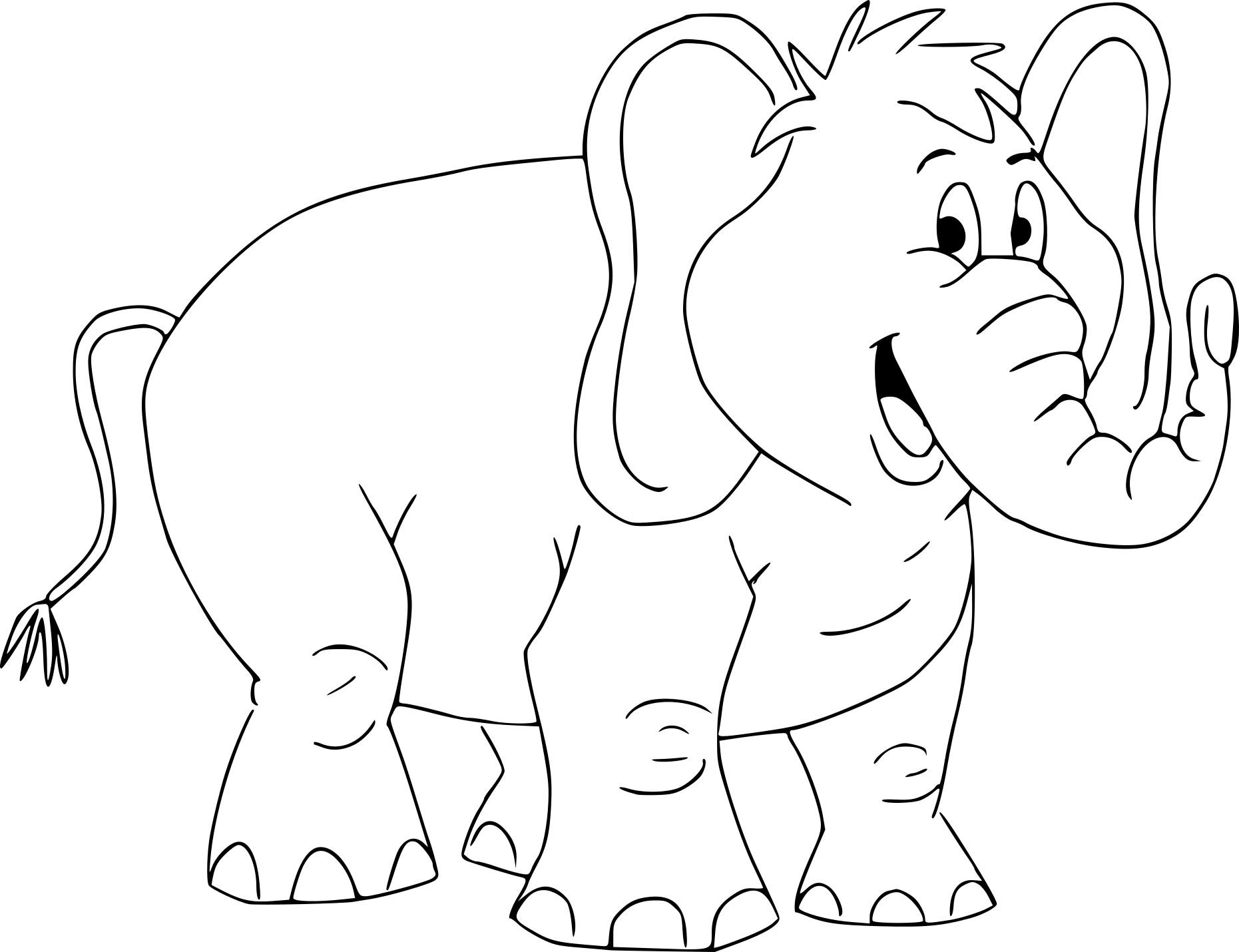 Tranh tô màu hình voi cartoon rất đẹp