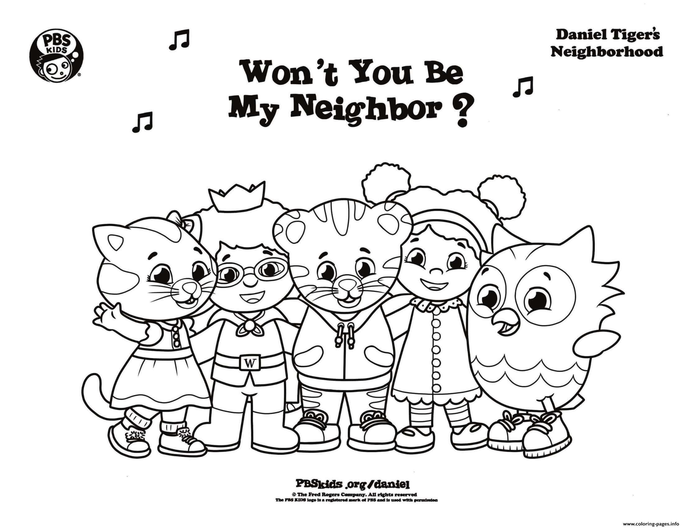 Tranh tô màu hổ và các bạn hàng xóm