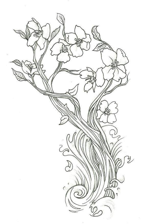 Tranh tô màu hoa đào độc đáo