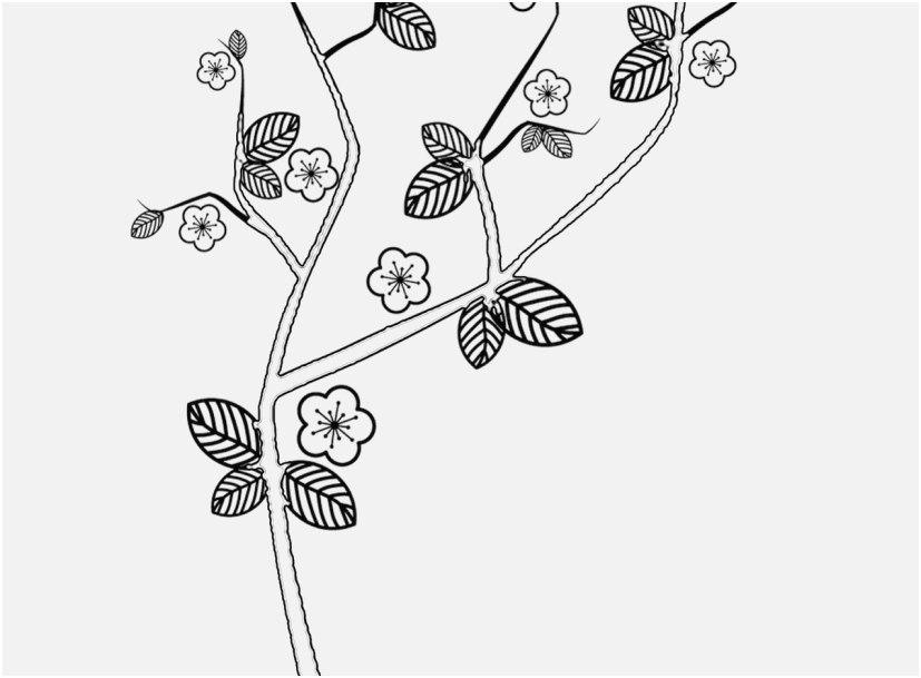 Tranh tô màu hoa đào đơn giản