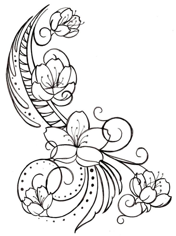 Tranh tô màu hoa đào hoa văn