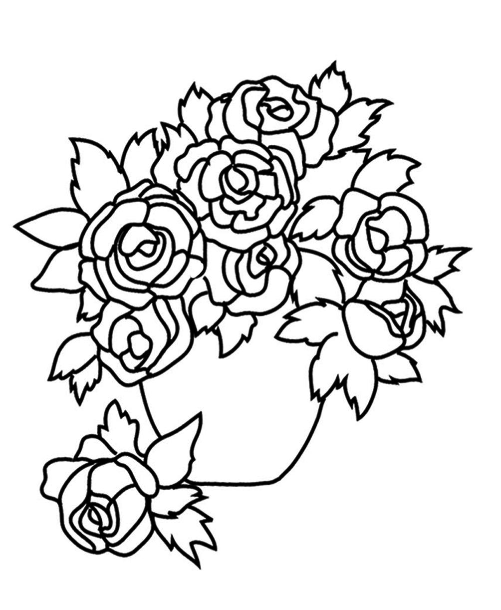 Tranh tô màu hoa hồng đơn giản cực đẹp