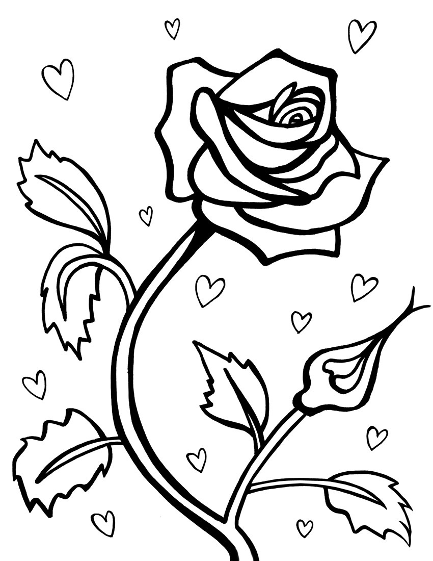 Tranh tô màu hoa hồng đơn giản đẹp nhất