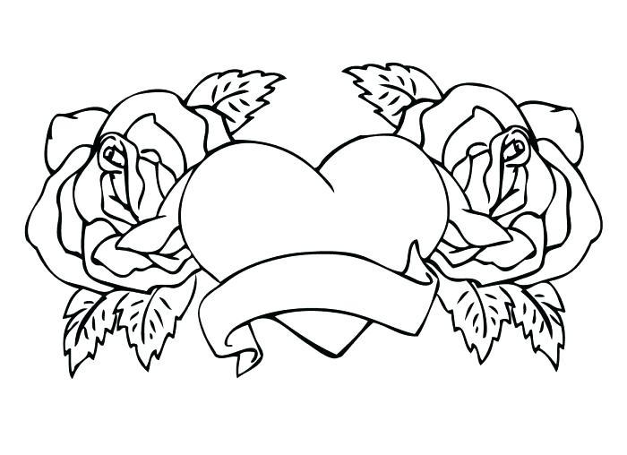 Tranh tô màu hoa hồng và trái tim