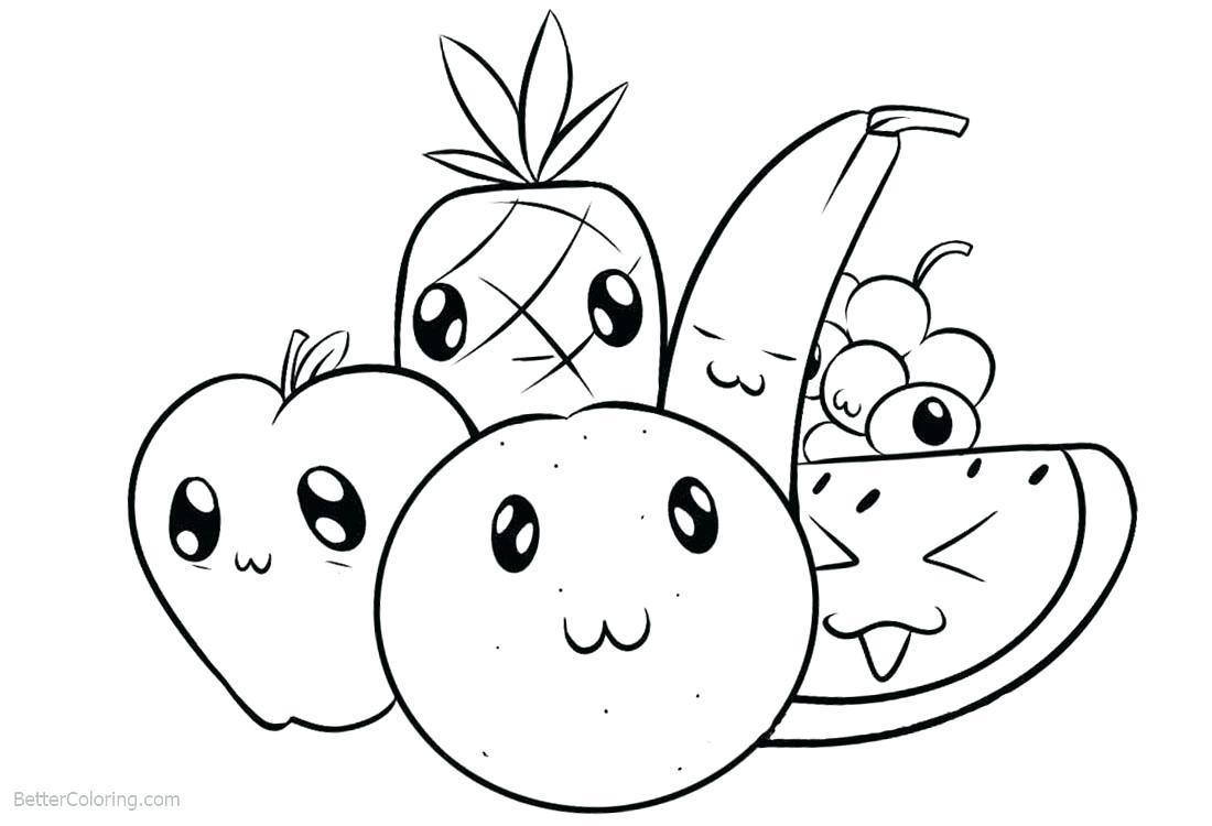 Tranh tô màu hoa quả đơn giản cho bé