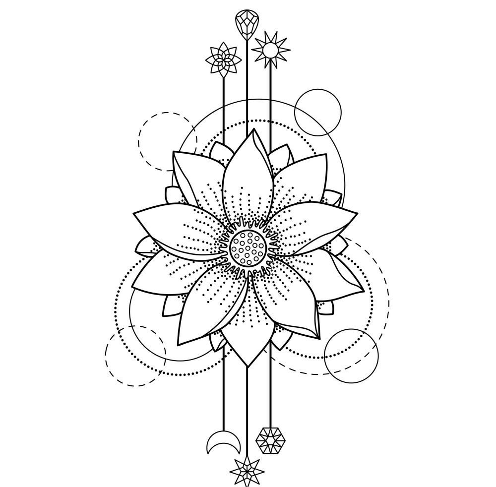 Tranh tô màu hoa sen hoạ tiết