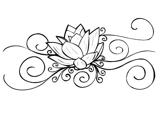 Tranh tô màu hoa sen hoạ văn