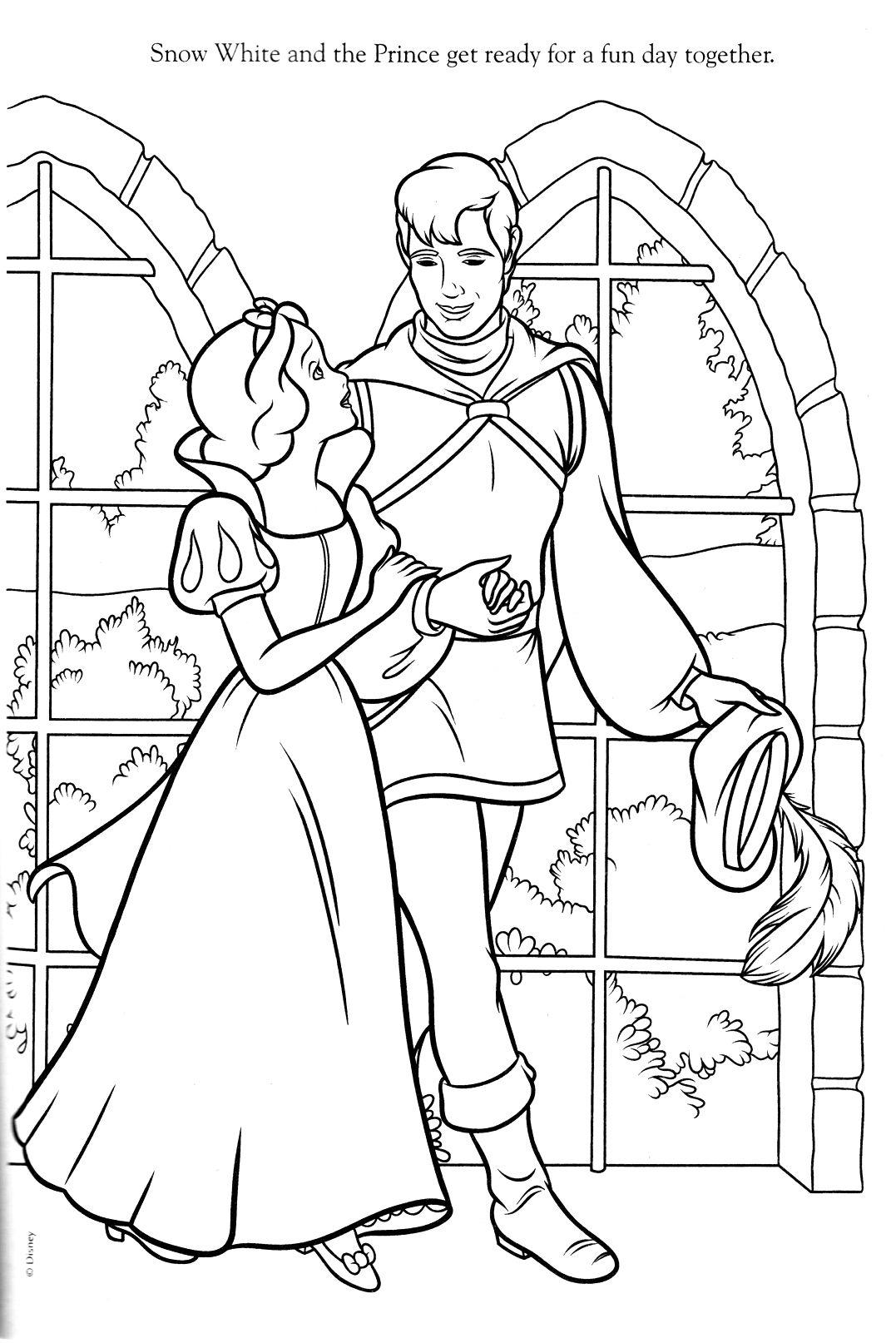 Tranh tô màu hoàng tử và công chúa bạch tuyết