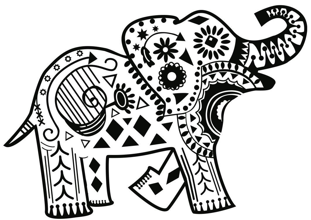 Tranh tô màu hoạt tiết đặc biệt của voi