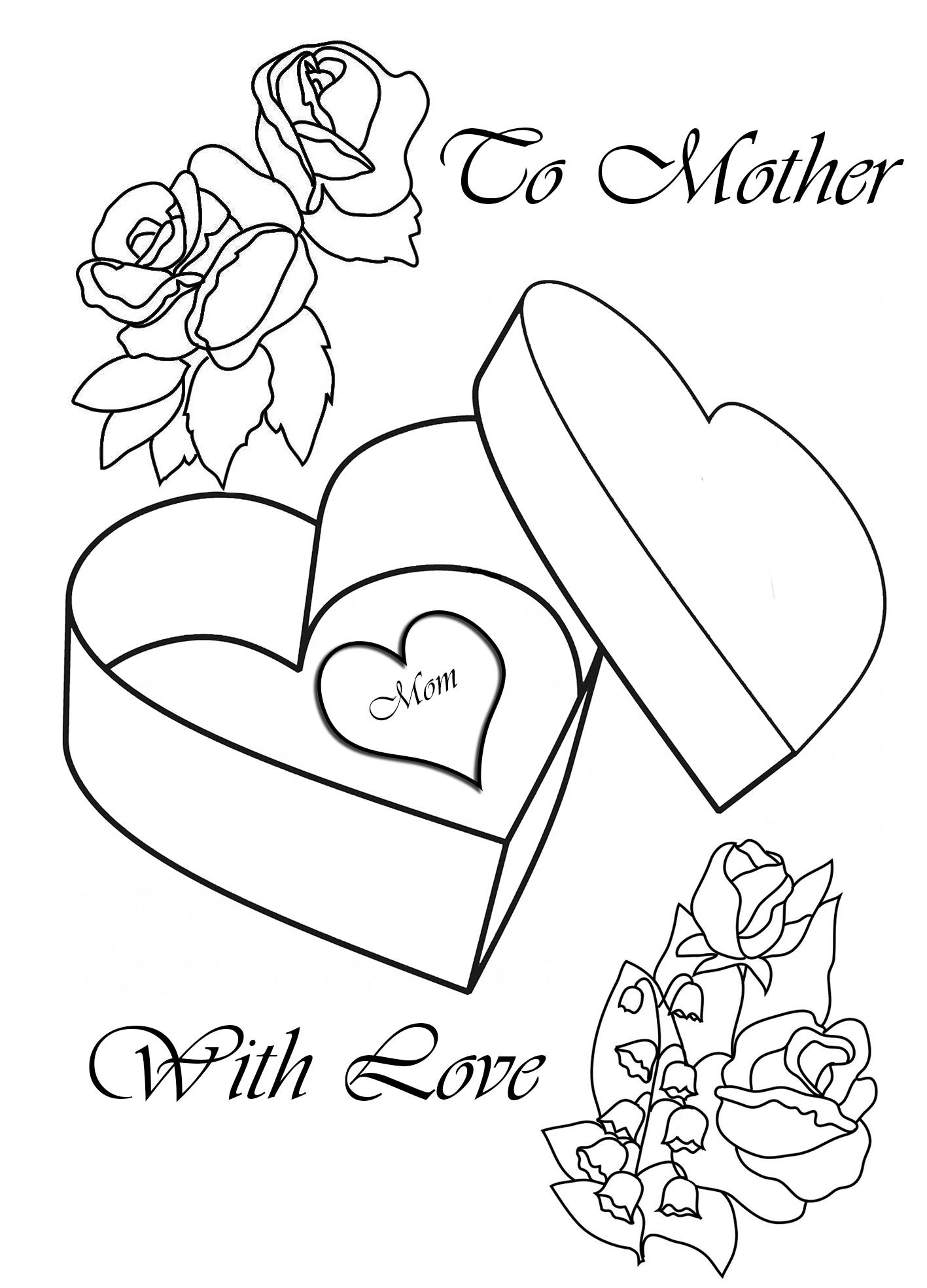 Tranh tô màu hộp quà trái tim đẹp nhất