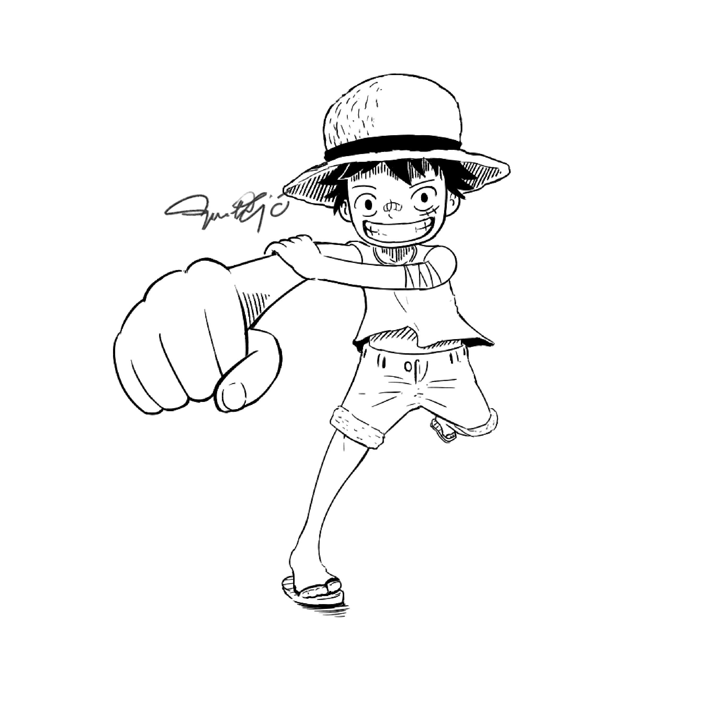 Tranh tô màu Luffy của One Piece rất đẹp