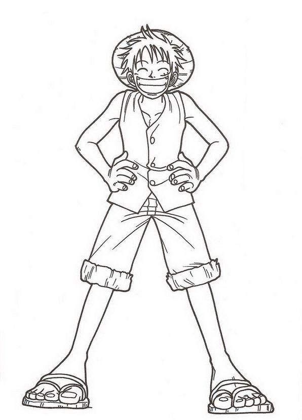 Tranh tô màu Luffy mũ rơm cực đẹp của One Piece