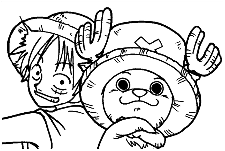 Tranh tô màu Luffy mũ rơm trong One Piece