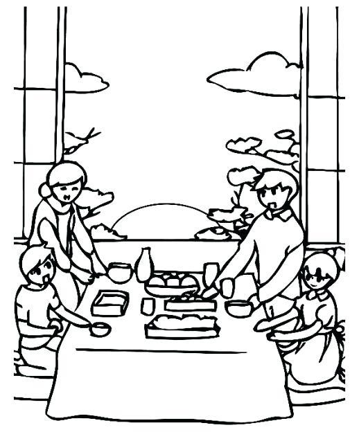 Tranh tô màu mâm cơm gia đình ngày Tết