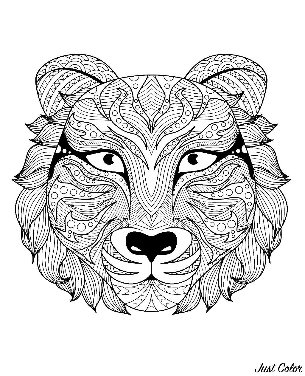 Tranh tô màu mặt hổ có nhiều họa tiết hoa văn